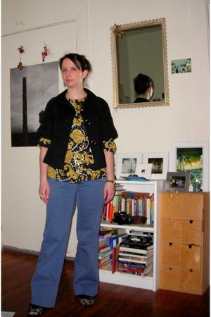 black jacket - gold Grandmothers blouse - blue Old Navy pants - thrifted shoes