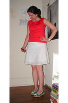 red thrifted top - white  skirt - green go jane shoes - blue Watch accessories -