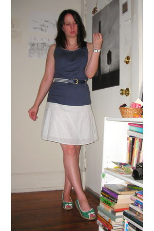 blue Old Navy top - blue Grandmothers belt - white  skirt - green go jane shoes