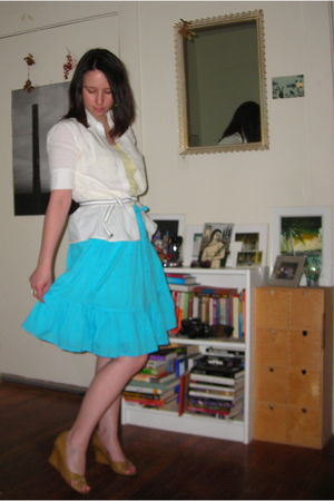 white  blouse - yellow Old Navy top - blue Old Navy skirt - white yard sale belt