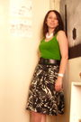 White-grandmothers-necklace-green-target-top-black-thrifted-belt-black-thr