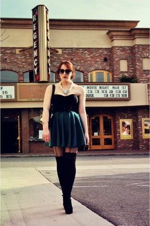 asos tights - Juicy Couture sunglasses - vintage necklace - Nanette Lepore top