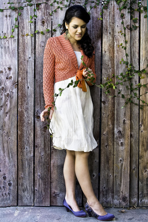gray shoes - white bubble dress dress - orange wrap swater sweater - earrings
