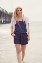 white cardigan shopruchecom sweater - blue romper jumper shopruchecom shorts