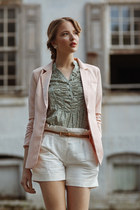 light pink blazer - white shorts - turquoise blue blouse - ivory earrings