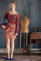 maroon blouse - blue wedges - burnt orange skirt - silver necklace