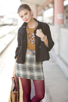 white skirt - black jacket - crimson tights - mustard top - tan belt