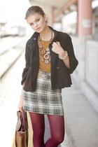 white skirt - black jacket - crimson tights - mustard top - tan belt