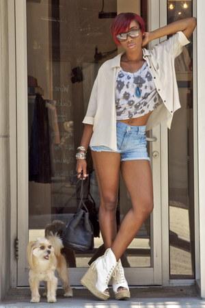 black Rebecca Minkoff bag - sky blue Les Halles shorts - silver Fallon bracelet