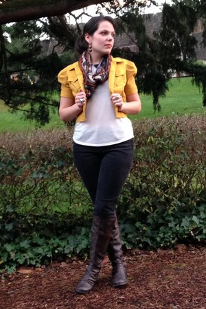 yellow jacket - dark brown boots - black Tommy Hilfiger jeans - ivory top