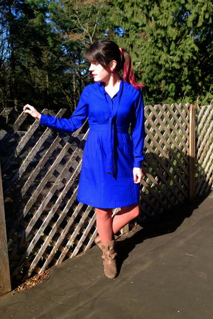 blue Worthington dress - light brown American Eagle boots - brown Target tights