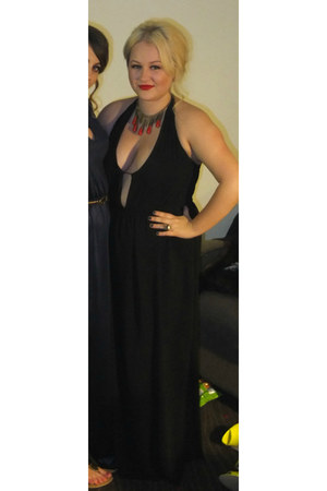 black chiffon Primark dress - gold H&M ring