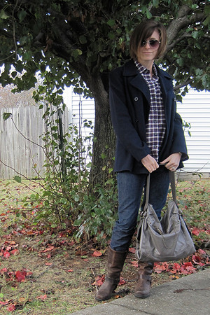navy Todd Oldham jacket - BDG shirt - navy Gap jeans - brown Target shoes - heat