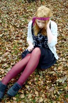 cream pull&bear cardigan - dark gray ecco boots - maroon lindex tights