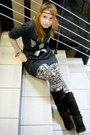 Dark-brown-knee-high-boots-tamaris-boots-charcoal-gray-bulldog-bik-bok-sweater