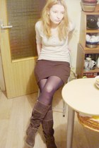 brown Tamaris boots - off white angora timeout sweater