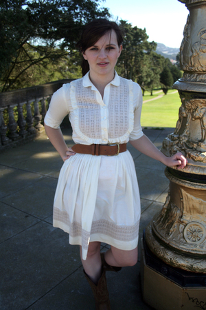 white vintage dress - brown vintage boots - brown vintage belt