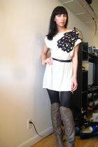 beige Urban Outfitters dress - black vintage belt - brown Aldo boots
