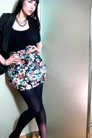 H&M skirt - black unknown top - black Zara blazer