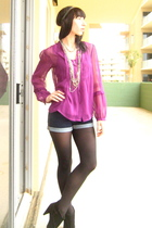 purple Anthropologie top - blue BDG shorts - black Target tights