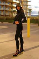 black eelskin crackle American Apparel leggings - black H&M shoes