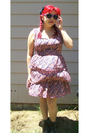 brown boots - pink floral print dress - purple sunglasses - navy hair accessory