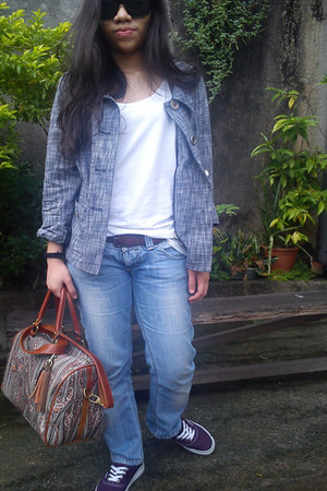 gray plaid-ish print blazer - tawny parfois bag - dark green brigada sunglasses