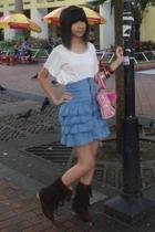 Orange shirt - Guess - Far East Plaza skirt - Bugis Street boots
