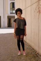 black Monki t-shirt - black asos stockings - black H&M skirt