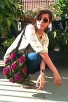 turqoise bracelet - crochet bag - vintage sunglasses - star earrings