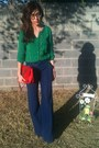 Ruby-red-quilted-purse-navy-old-navy-pants-green-old-navy-blouse
