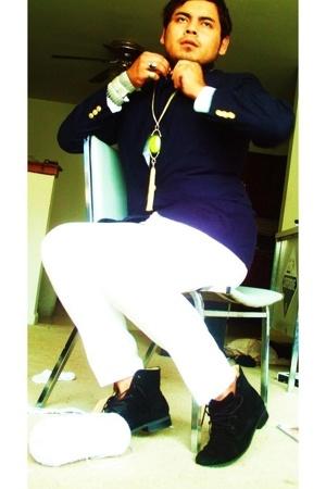 blazer - pants - necklace - bracelet - boots