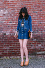 Navy-denim-forever-21-jacket-bronze-leather-minnie-george-bag