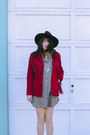 Silver-chambray-levis-dress-ruby-red-suede-fringe-thrifted-vintage-jacket