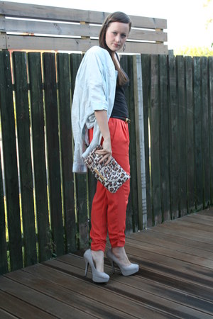 light blue Mango jacket - camel leopard print Miss Selfridge bag - black asos be