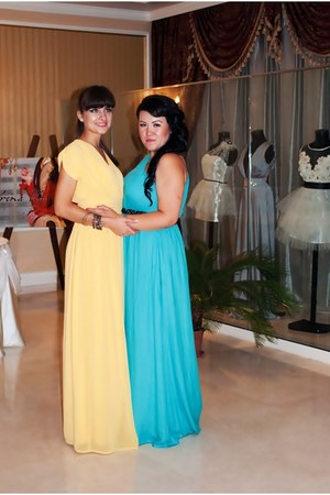 turquoise dress Zara dress - yellow dress dress
