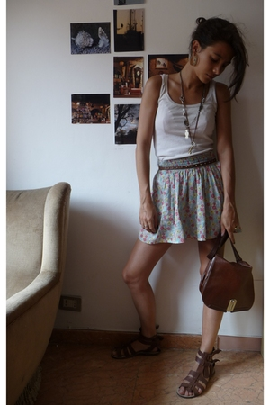 none shirt - H&M belt - Zara skirt - Zara shoes - vintage purse - homemade neckl