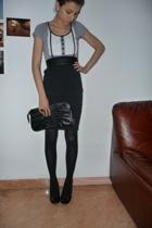 H&M shirt - none skirt - bagatt shoes - H&M purse