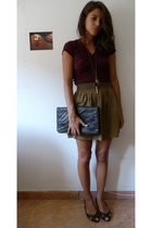 Zara shirt - Zara skirt - none shoes - vintage purse