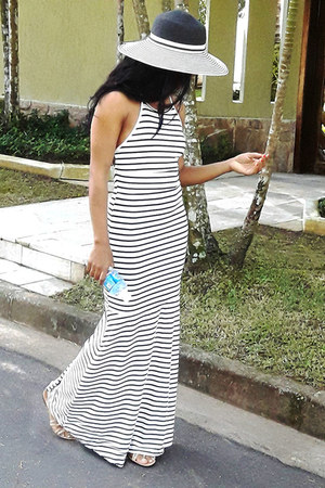 black hat sammydress hat - white stripes ToSave dress