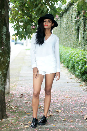 white denim shorts lightinthebox shorts - black shoes dresslily shoes