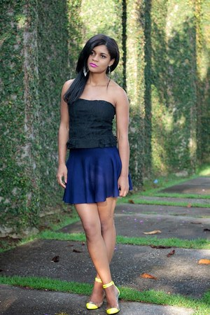 navy elegant Sheinside skirt - yellow inspiration VESSOS shoes