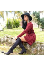 black floppy hat hat - black Bottero boots - red red shein dress
