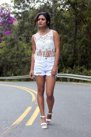 white white shorts - white crop top Yoins top - white sandals sammydress sandals