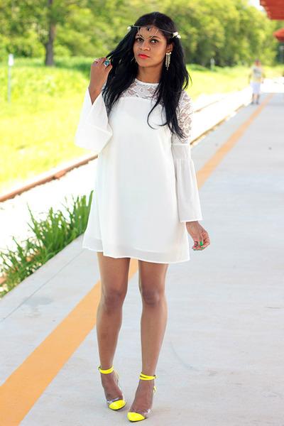 yellow fashion VESSOS shoes - white dress income fecbek dress