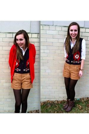 Frye boots - Lacoste sweater - Rachel Zoe shorts - Forever 21 vest