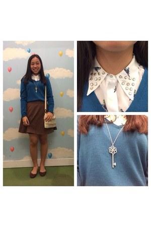 brown skirt - teal soft material Uniqlo sweater - white collar neck Zara shirt