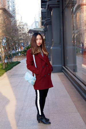crimson coat - black Forever 21 boots - gu shirt - black pull&bear pants