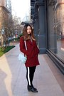 Black-forever-21-boots-crimson-coat-gu-shirt-black-pull-bear-pants