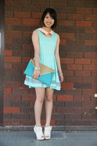 light blue Romwecom dress - white Forever New boots - sky blue collette bag